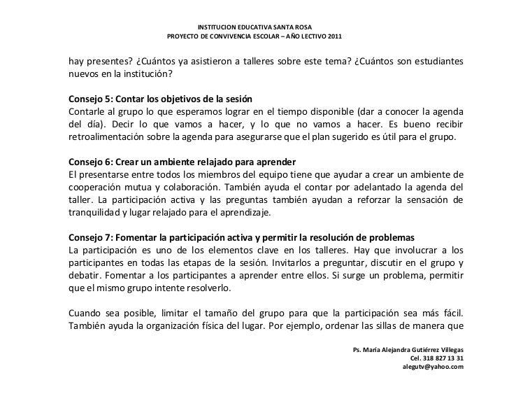 INSTITUCION EDUCATIVA SANTA ROSA                       PROYECTO DE CONVIVENCIA ESCOLAR – AÑO LECTIVO 2011hay presentes? ¿C...