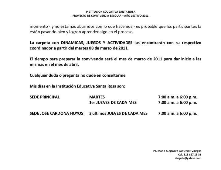 INSTITUCION EDUCATIVA SANTA ROSA                       PROYECTO DE CONVIVENCIA ESCOLAR – AÑO LECTIVO 2011momento - y no es...