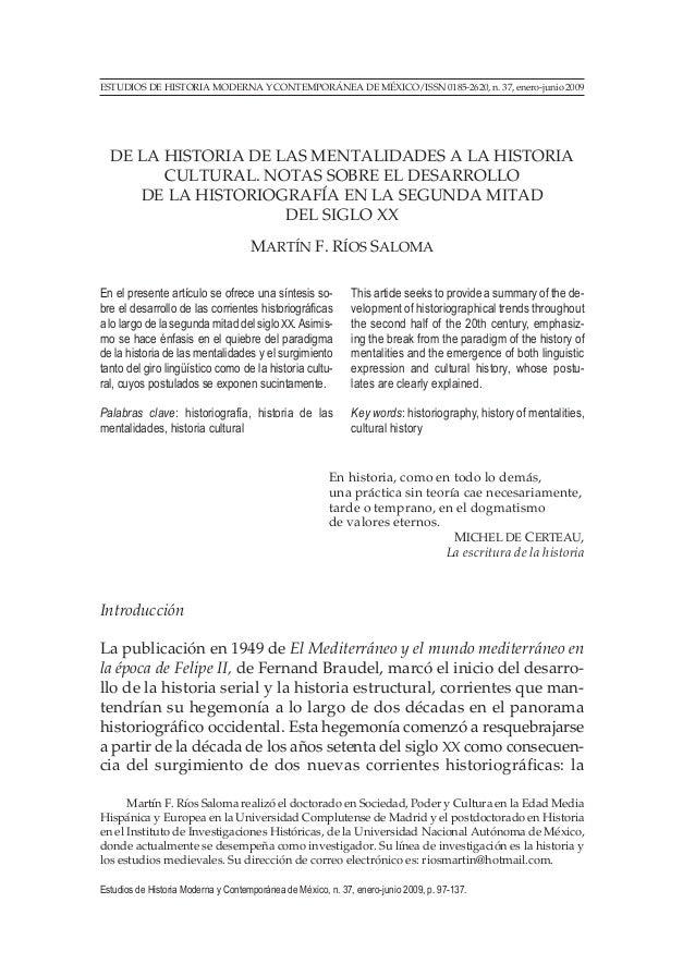 ESTUDIOS DE HISTORIA MODERNA Y CONTEMPORÁNEA DE MÉXICO/ISSN 0185-2620, n. 37, enero-junio 2009 DE LA HISTORIA DE LAS MENTA...