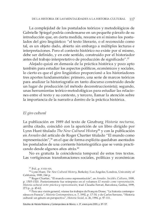 117DE LA HISTORIA DE LAS MENTALIDADES A LA HISTORIA CULTURAL Estudios de Historia Moderna y Contemporánea de México, n. 37...