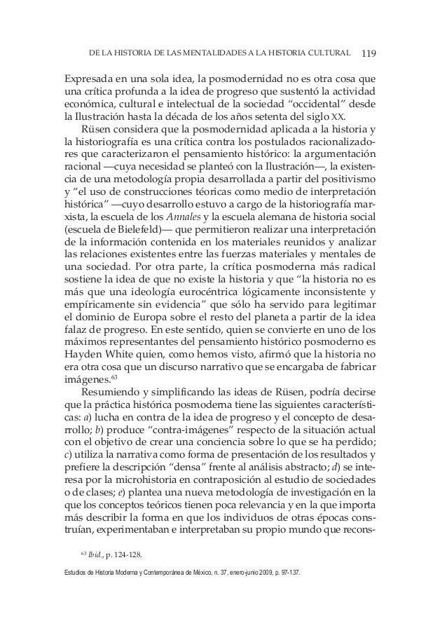 119DE LA HISTORIA DE LAS MENTALIDADES A LA HISTORIA CULTURAL Estudios de Historia Moderna y Contemporánea de México, n. 37...