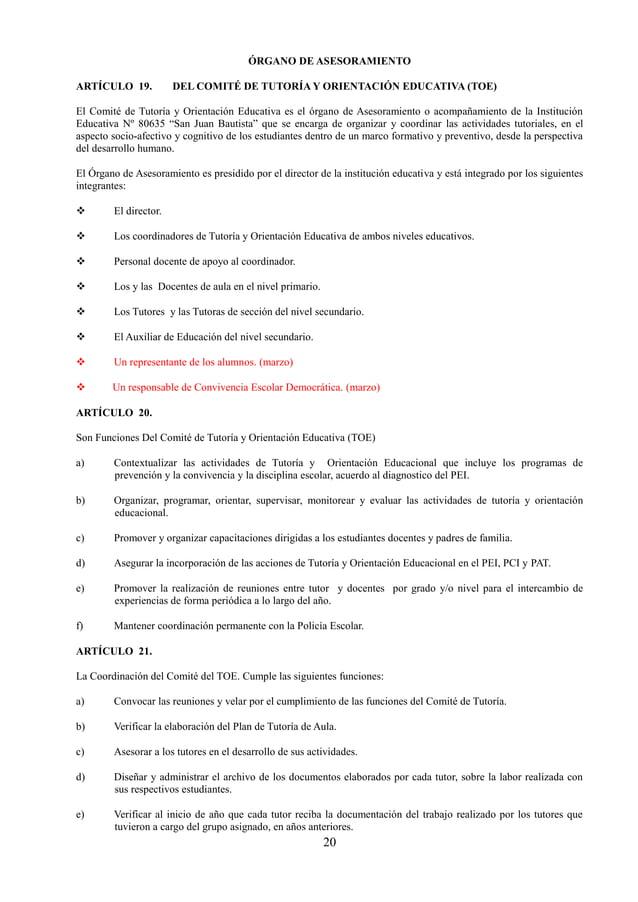 21 f) En su archivo debe incluir: Plan de tutoría de aula, con la estructura de las sesiones y los temas a trabajar en cad...