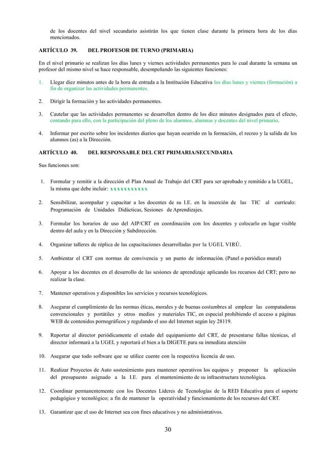 31 15. Promover el uso y aprovechamiento pedagógico de los servicios y recursos del portal educativo nacional: www.peruedu...