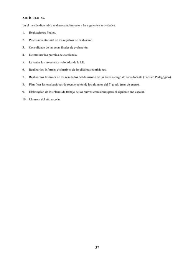 38 TITULO SEXTO: DEL FUNCIONAMIENTO DE LA INSTITUCIÓN EDUCATIVA
