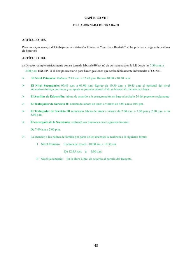 49 TITULO NOVENO: REGIMEN INTERNO DE LA INSTITUCIÓN EDUCATIVA DE LOS DERECHOS, ATRIBUCIONES, OBLIGACIONES, PROHIBICIONES, ...