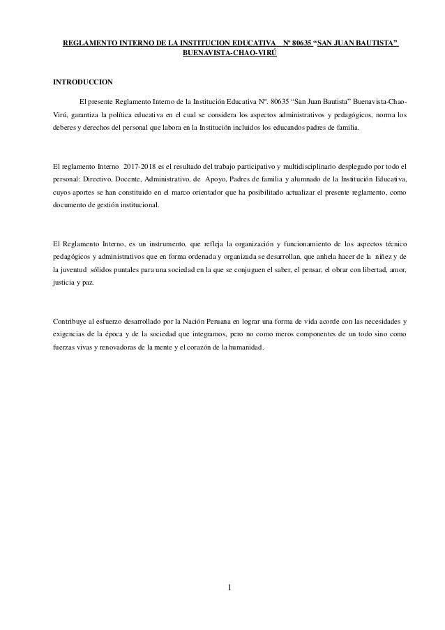 Reglamento Interno 2018 San Juan Bautista-Chao Slide 3