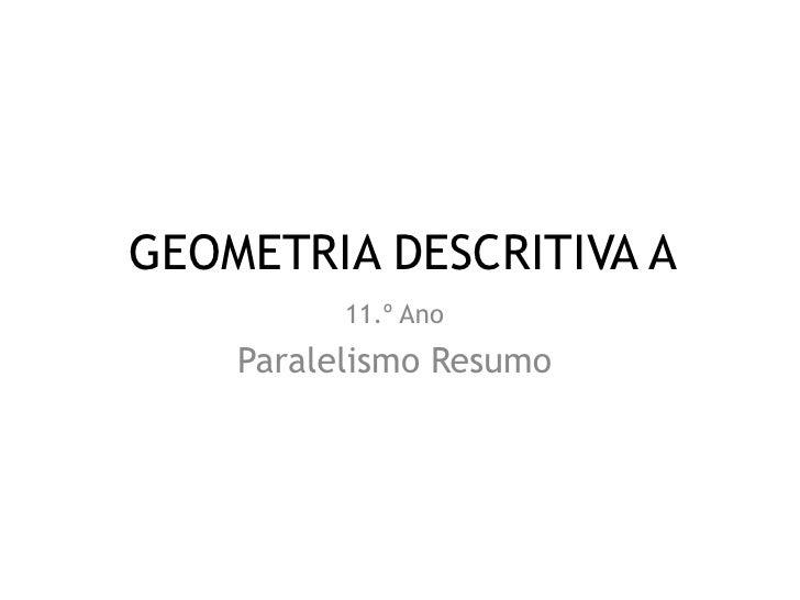 GEOMETRIA DESCRITIVA A          11.º Ano    Paralelismo Resumo