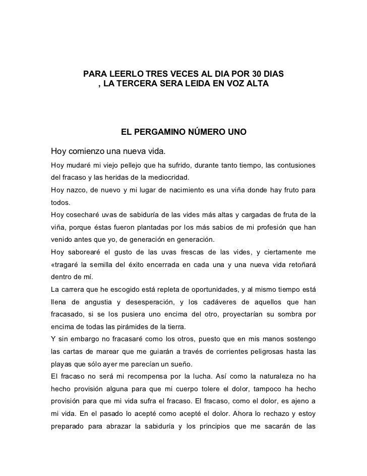 PARA LEERLO TRES VECES AL DIA POR 30 DIAS             , LA TERCERA SERA LEIDA EN VOZ ALTA                      EL PERGAMIN...