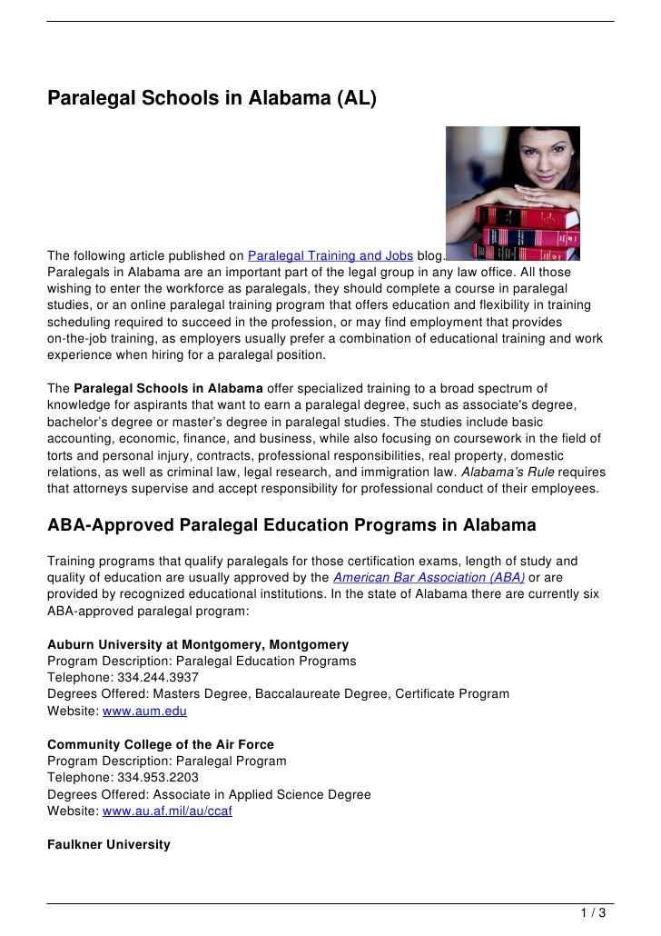 Paralegal Schools In Alabama Al