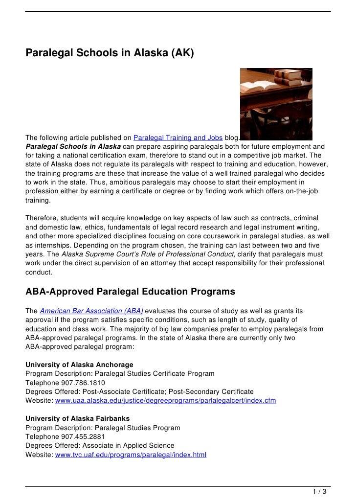 Paralegal Schools In Alaska Ak