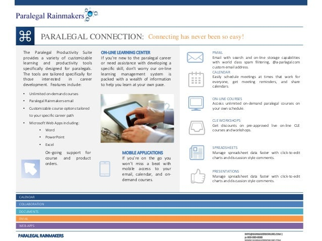 PARALEGAL CONNECTION: Connecting has never been so easy! The Paralegal Productivity Suite provides a variety of customizab...