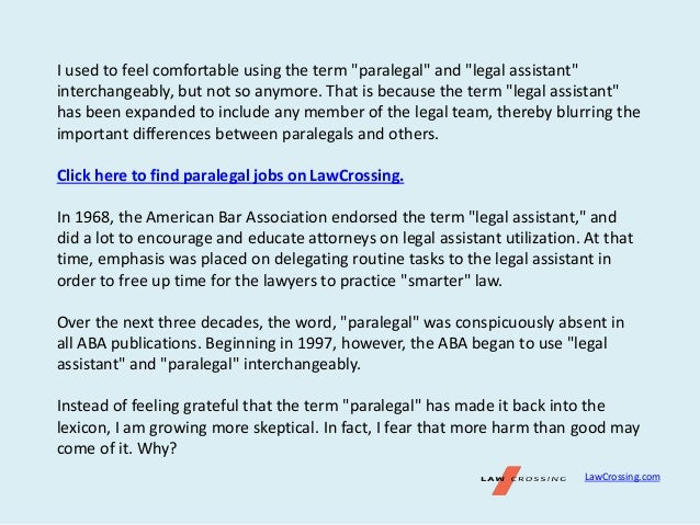 Paralegal or Legal Assistant – What's in a Name?