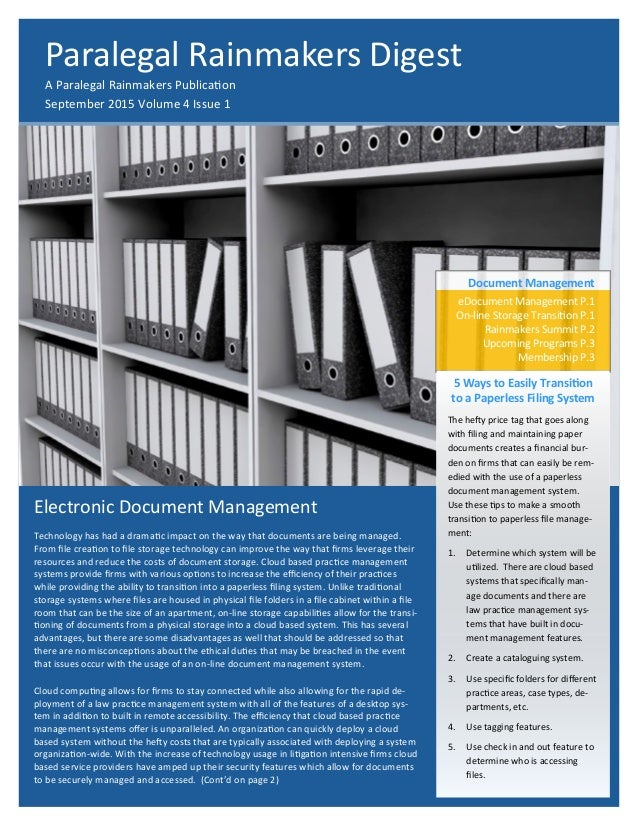 Electronic Document Management Technology has had a dramatic impact on the way that documents are being managed. From file...