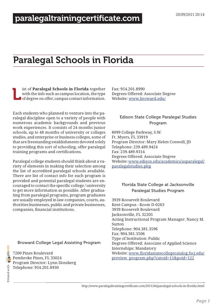 paralegal schools in florida