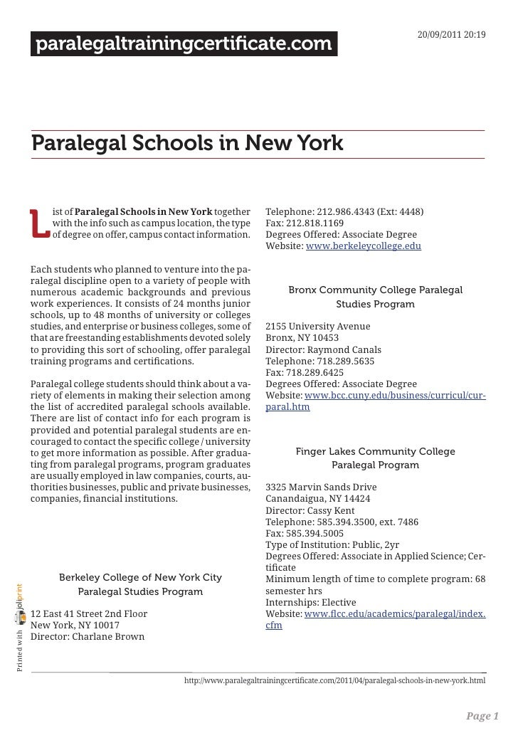 20/09/2011 20:19                 paralegaltrainingcertificate.com                Paralegal Schools in New York            ...