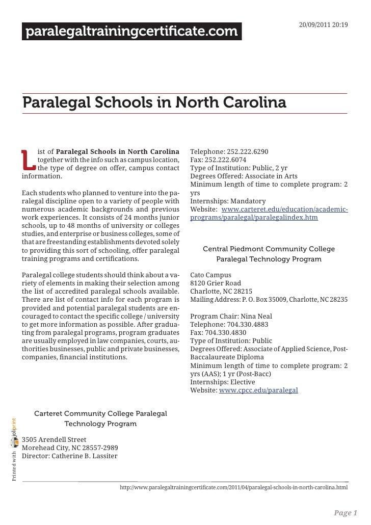 paralegal schools in north carolina