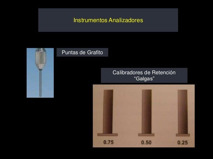 """Instrumentos AnalizadoresPuntas de Grafito                    Calibradores de Retención                             """"Galgas"""""""