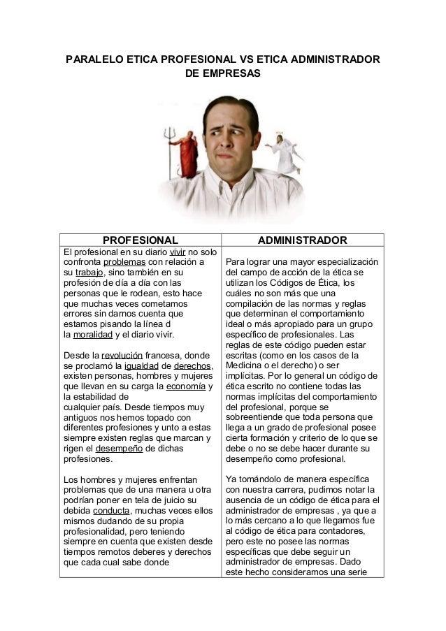 PARALELO ETICA PROFESIONAL VS ETICA ADMINISTRADOR DE EMPRESAS PROFESIONAL ADMINISTRADOR El profesional en su diario vivir ...