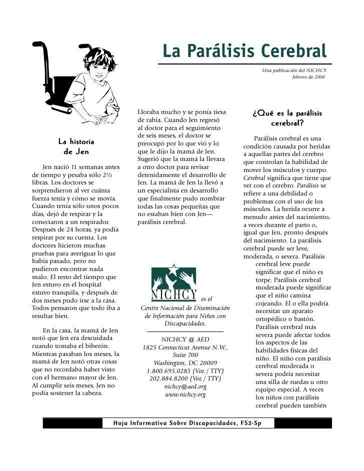 La Parálisis Cerebral                                                                           Una publicación del NICHCY...