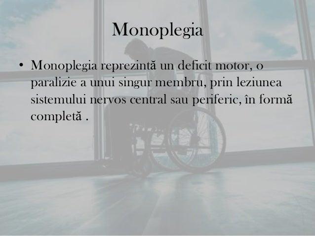 • În funcţie de felul în care paralizia (deficitul motor) cuprindemembrul superior sau membrul inferior, monoplegiile pot ...