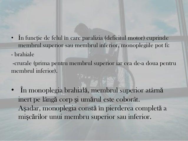Tetraplegia• Reprezintă paralizia tuturor celor patru membre.• Tetraplegia constă în pierderea completă a mişcărilormembre...