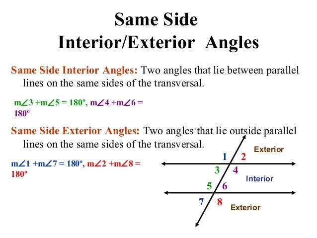 Same side interior angles supplementary theorem www - Same side exterior angles are congruent ...