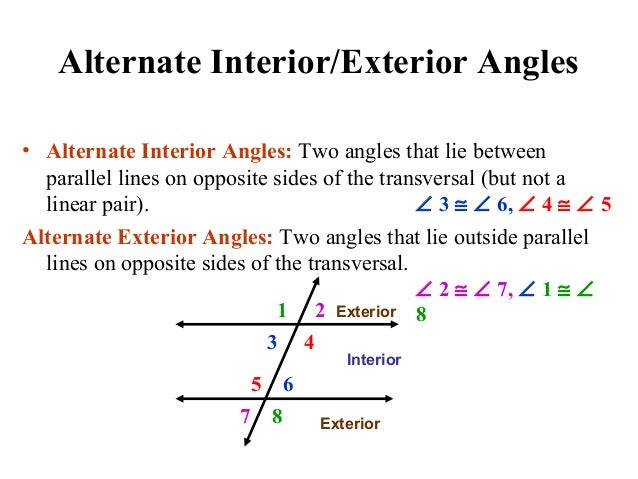 Parallel lines amp transversals edited - Alternate interior exterior angles ...