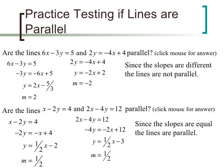 Parallel and perpendicular lines – Slope of Parallel and Perpendicular Lines Worksheet