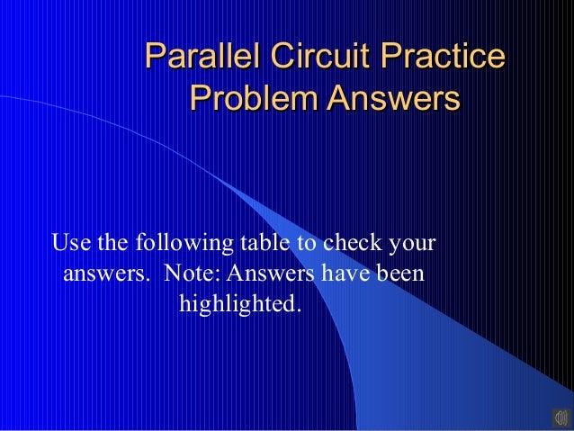 Parallel Circuit Practice Problem Answers