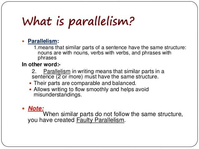 parallel structure in writing I know parallel structure makes things look and sound better but there are sentences that lack symmetry that are still grammatically correct i stole an example from a worksheet: the class valued.