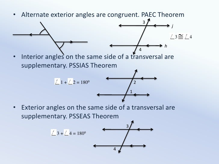 Parallel line properties - Same side exterior angles are congruent ...