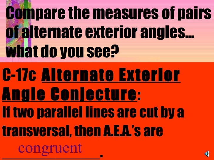 Parallel lines for Alternate exterior angles conjecture