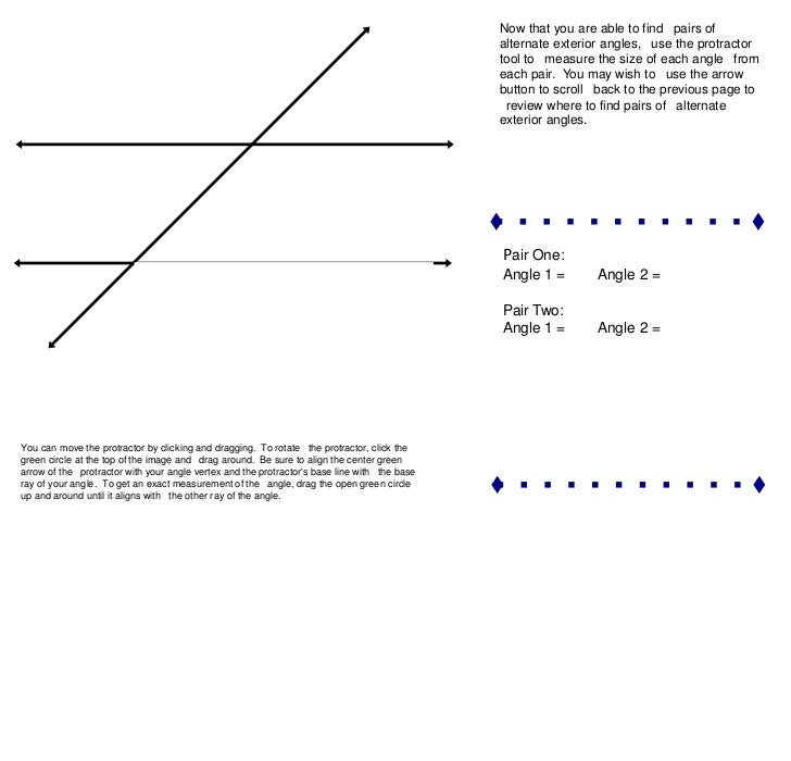 Parallel lines cut by a transversal - Definition of alternate exterior angles ...