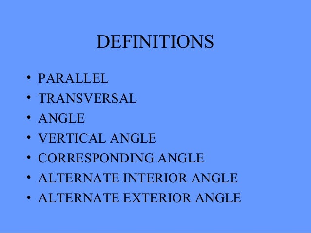 Parallel lines cut by a transversalpptp - Definition of alternate exterior angles ...