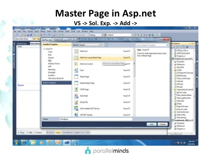 how to create horizontal menu in asp net master page