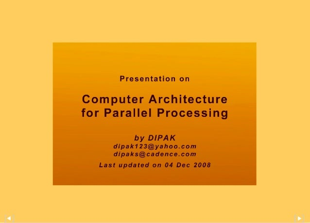 Computer Architecture for Parallel Processing