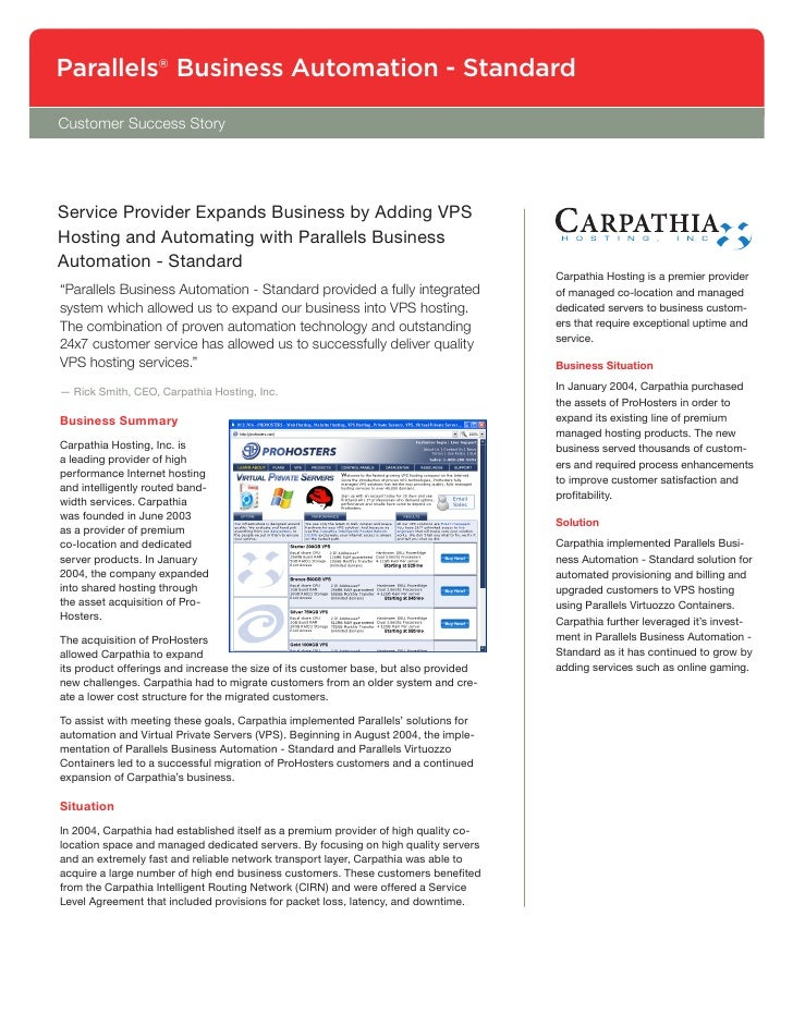 Parallels® Business Automation - Standard Customer Success Story     Service Provider Expands Business by Adding VPS Hosti...
