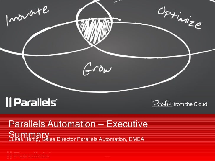 Parallels Automation – Executive Summary Lukas Hertig, Sales Director Parallels Automation, EMEA