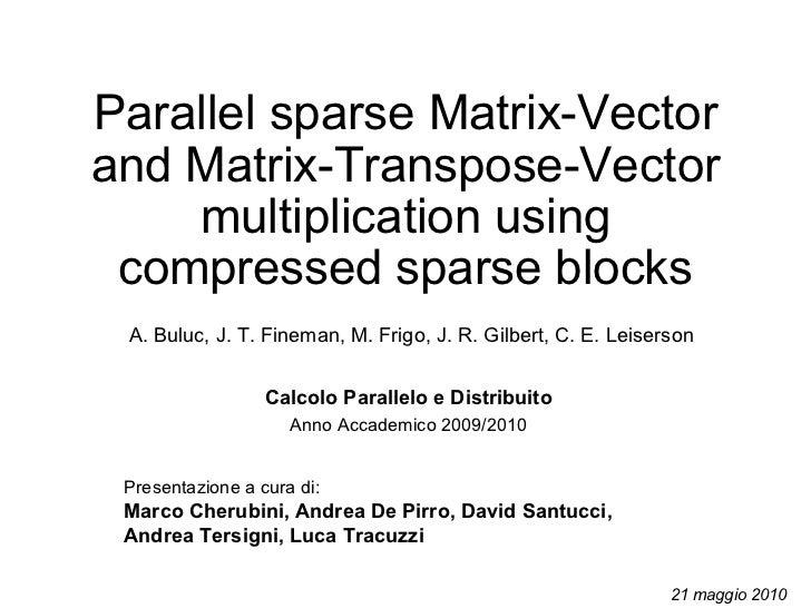 Parallel sparse Matrix-Vector and Matrix-Transpose-Vector multiplication using compressed sparse blocks Presentazione a cu...