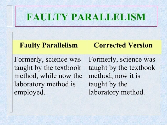 parallel structure Use parallel structure with elements in lists or in a series a series is a group of three or more elements in a row the last.