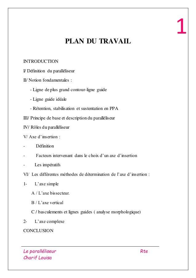 Le paralléliseur Rte Charif Louisa 1PLAN DU TRAVAIL INTRODUCTION I/ Définition du paralléliseur II/ Notion fondamentales :...