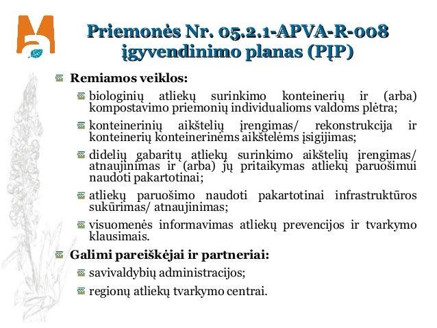 Priemonės Nr. 05.2.1-APVA-R-008Priemonės Nr. 05.2.1-APVA-R-008 įgyvendinimo planas (PĮP)įgyvendinimo planas (PĮP) Remiamos...