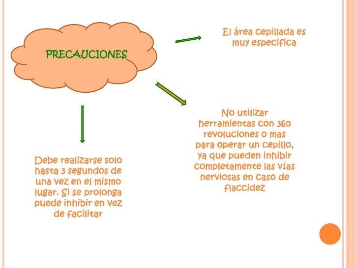 El área cepillada es muy especifica<br />PRECAUCIONES<br />No utilizar herramientas con 360 revoluciones o mas para operar...