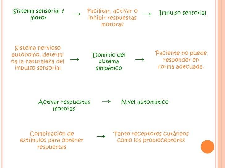 Sistema sensorial y motor <br />Facilitar, activar o inhibir respuestas motoras <br />Impulso sensorial<br />Sistema nervi...