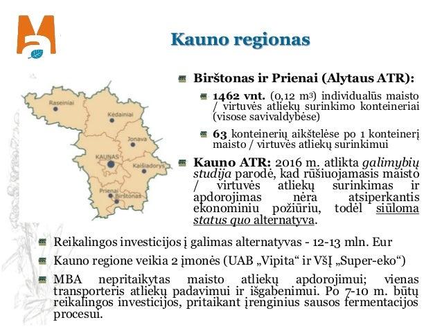 Kauno regionas Birštonas ir Prienai (Alytaus ATR): 1462 vnt. (0,12 m3) individualūs maisto / virtuvės atliekų surinkimo ko...