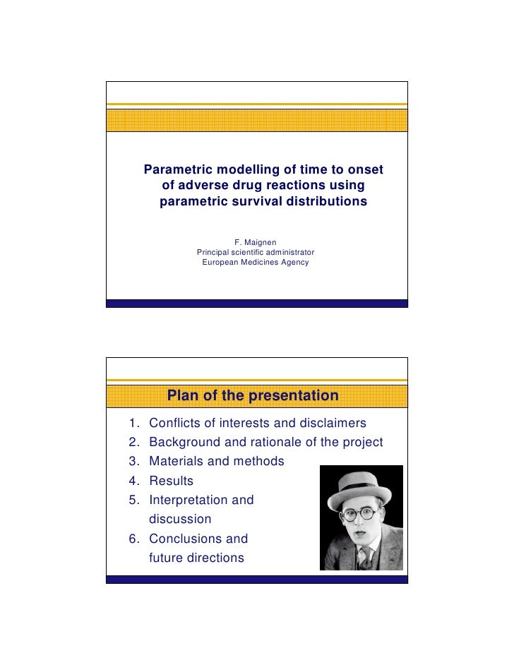 Parametric modelling of time to onset        of adverse drug reactions using        parametric survival distributions     ...