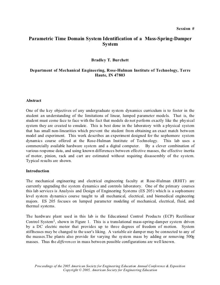 Session # Parametric Time Domain System Identification of a Mass-Spring-Damper                               System       ...