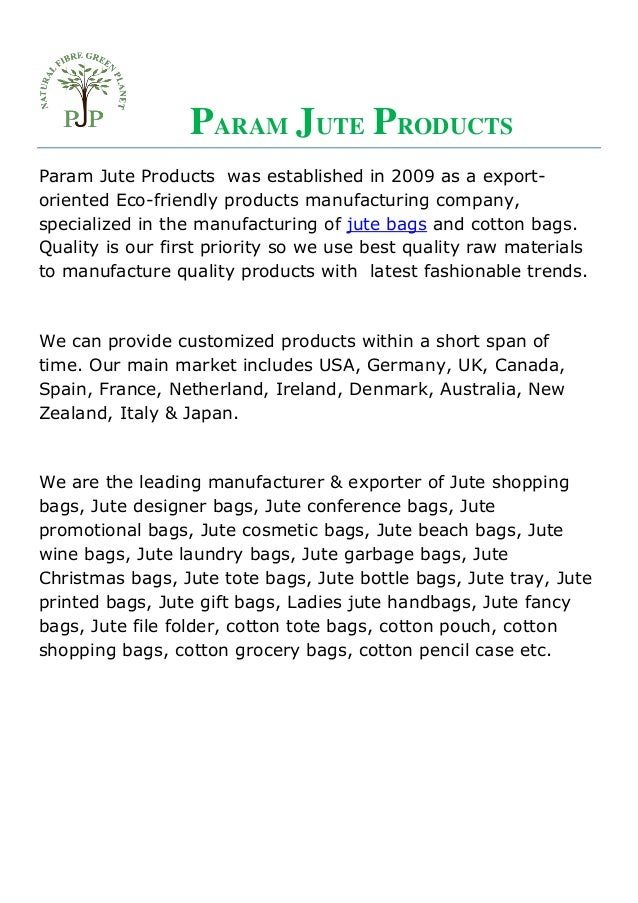 Param Jute Products, a leading jute bags manufacturer & exporter in K…