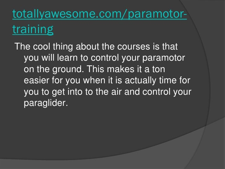 how to get into paramotoring