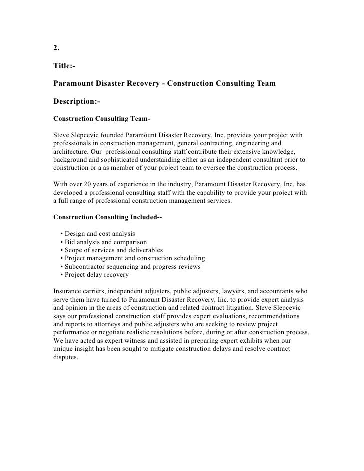 2.  Title:-  Paramount Disaster Recovery - Construction Consulting Team  Description:-  Construction Consulting Team-  Ste...